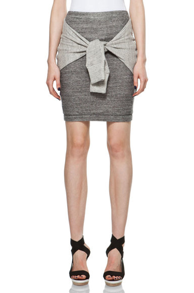 Get wrapped up in this sportier take on the jersey skirt — add a cool wedge sneaker to keep the athletic vibe going. 3.1 Phillip Lim Skirt With Tie in Soft Gray/Charcoal ($325)