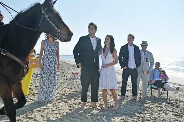 Busy Philipps, Christa Miller, Josh Hopkins, Courteney Cox, Robert Clendenin, Ian Gomez, Dan Byrd, and Ken Jenkins on Cougar Town. Photo copyright 2012 ABC, Inc.