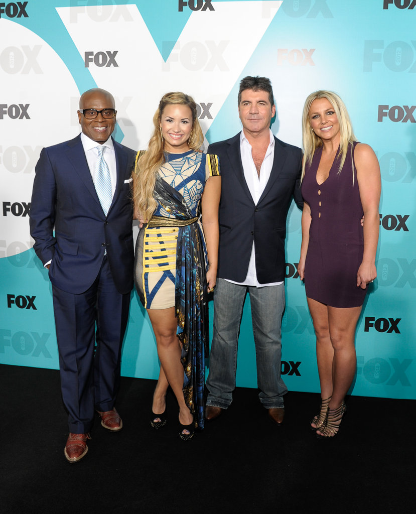 L.A. Reid, Demi Lovato, Simon Cowell, and Britney Spears linked up at the Fox Upfronts party in NYC.