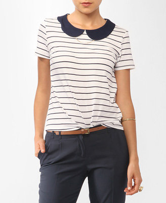 Two sweet Spring trends — stripes and a Peter Pan collar — make this top a winner. Forever 21 Striped Peter Pan Collar Tee ($15)