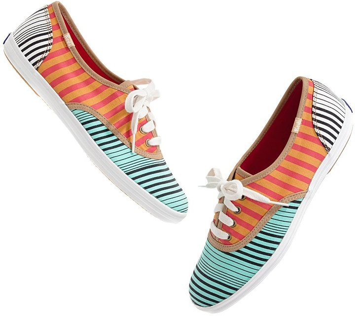 We'd pop these Keds on with a pair of cuffed jeans for a cool '80s vibe.  Keds for Madewell Stripe Mix Sneakers ($50)
