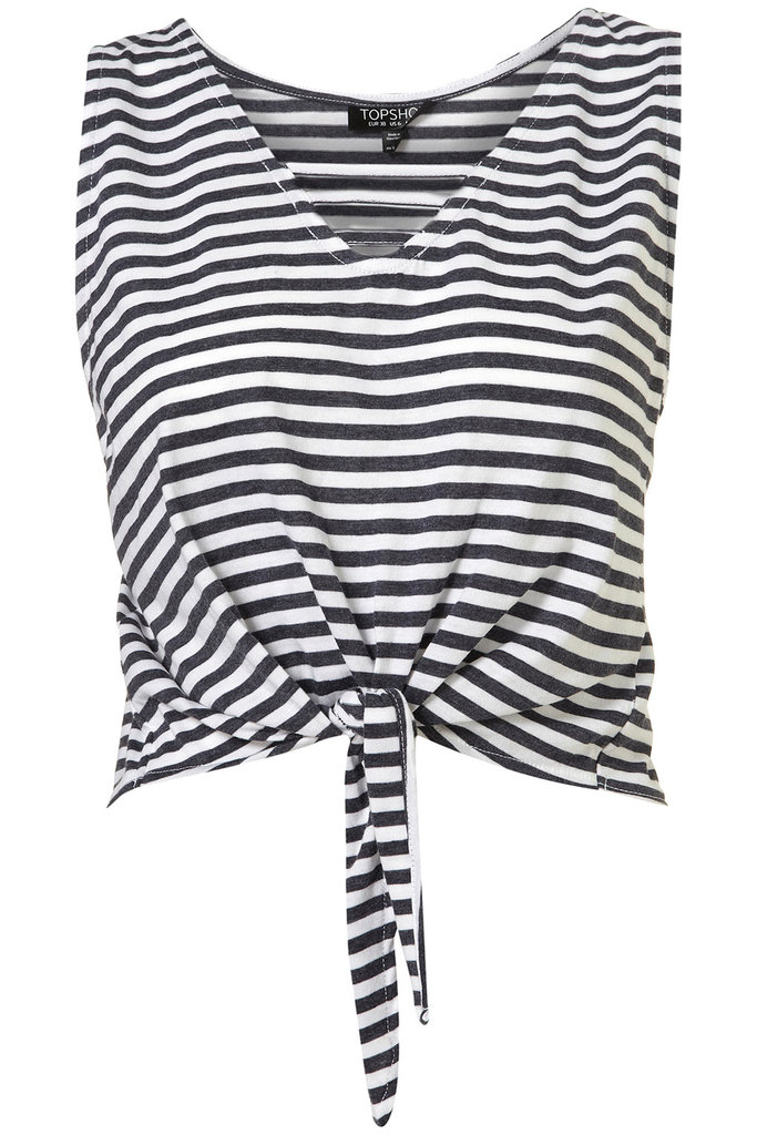 Channel Jean Seberg in this cute striped knotted top.  Topshop Stripe Knot Crop Top ($28)