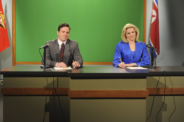 Michael Mosley and Elizabeth Banks on 30 Rock. Photo courtesy of NBC