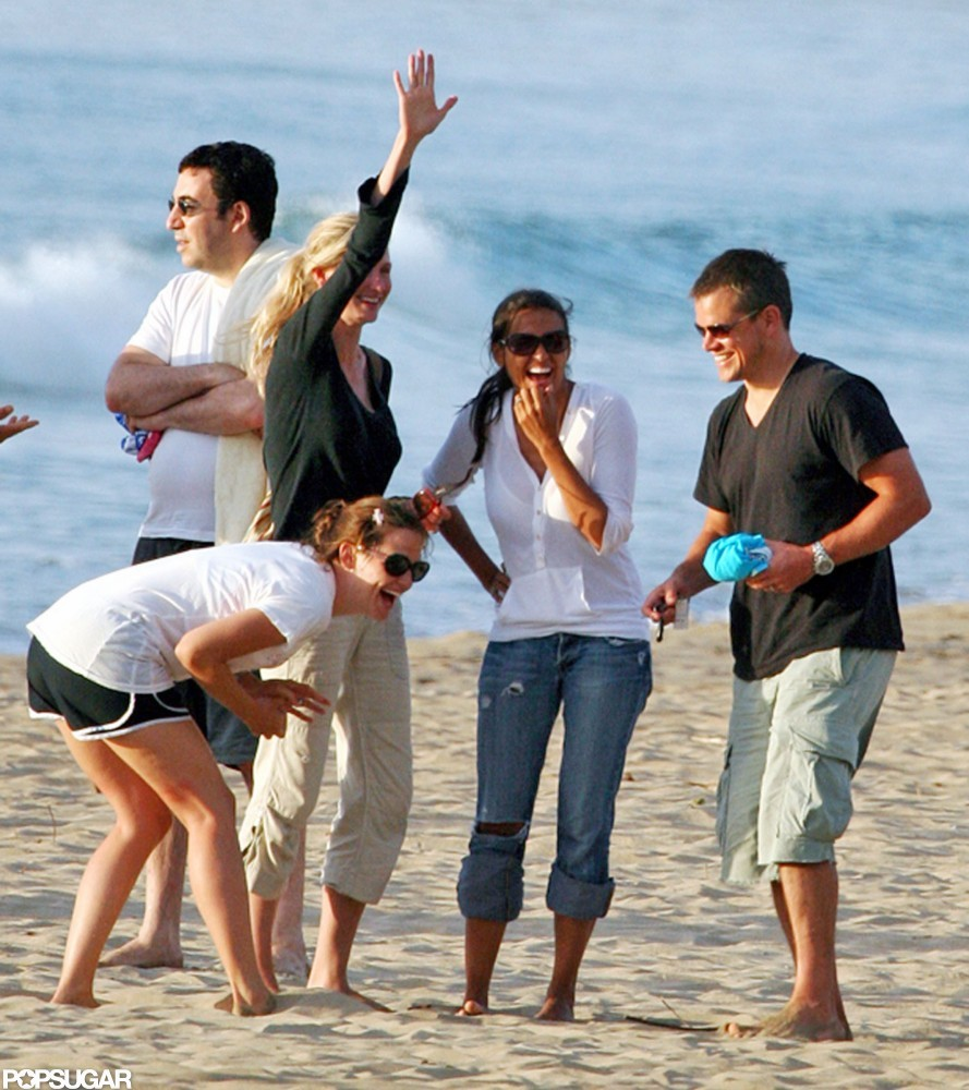 Matt Damon and his wife, Luciana, hit the beach with Jennifer Garner during a group trip to Hawaii in July 2007.
