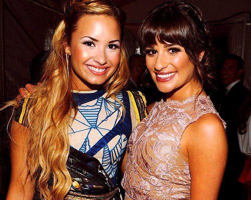Lea Michele and Demi Lovato made a pretty pair at the FOX Upfronts.  Source: Twitter user msleamichele