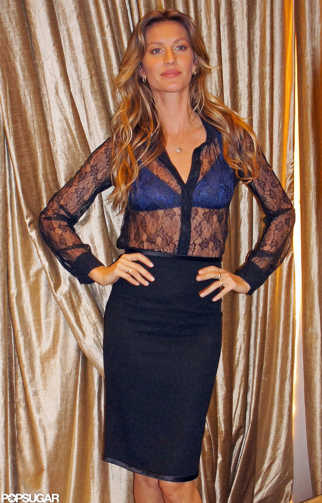 Gisele Bundchen went sheer for a photocall.
