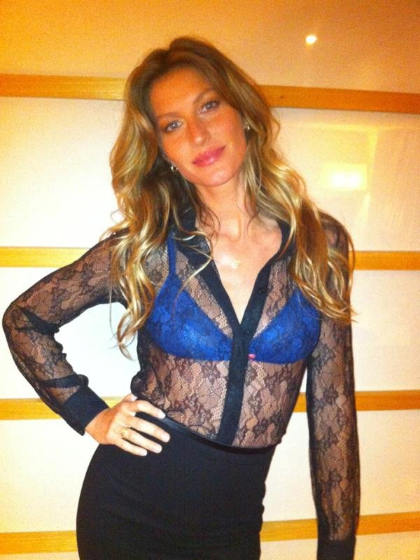 Gisele Bundchen showed off a sheer top while launching her intimates collection. Source: Twitter user giseleofficial