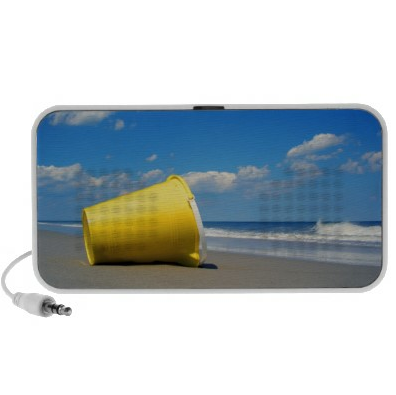 OrigAudio's Doodle Jammin' at the Beach Speakers ($42) are made from hard plastic with a printed fabric face. Plug the speaker into your computer via the USB cable or power it up with AAA batteries while you're on the go. Despite the beach backdrop, beware: these speakers are not water resistant or waterproof.