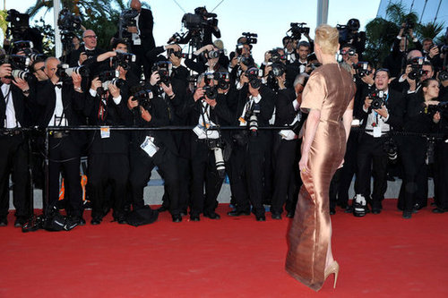 A full-length profile of Tilda Swinton's metallic copper Haider Ackermann number.