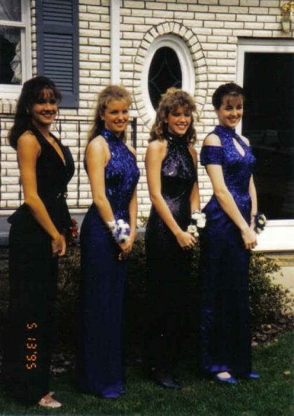 """Blue halter gowns with sparkles (and matching shoes) were all the rage. LOL!"" — Jaime Richards, BellaSugar associate editor"