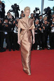 Tilda Swinton smoldered in a copper-toned Haider Ackermann gown at the Moonrise Kingdom premiere.