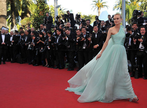 Diane Kruger made her entrance at the festival's opening ceremony in aqua Giambattista Valli Couture.