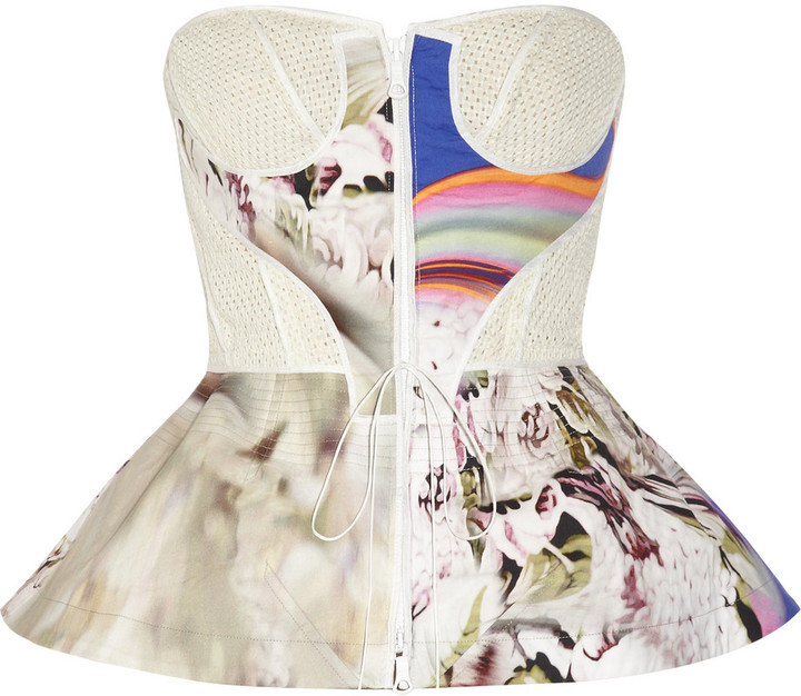 If you're a soul brave enough to wear an eyelet/printed/peplum/strapless top, this is the one for you.  Vera Wang Printed Crepe Peplum Top ($995)