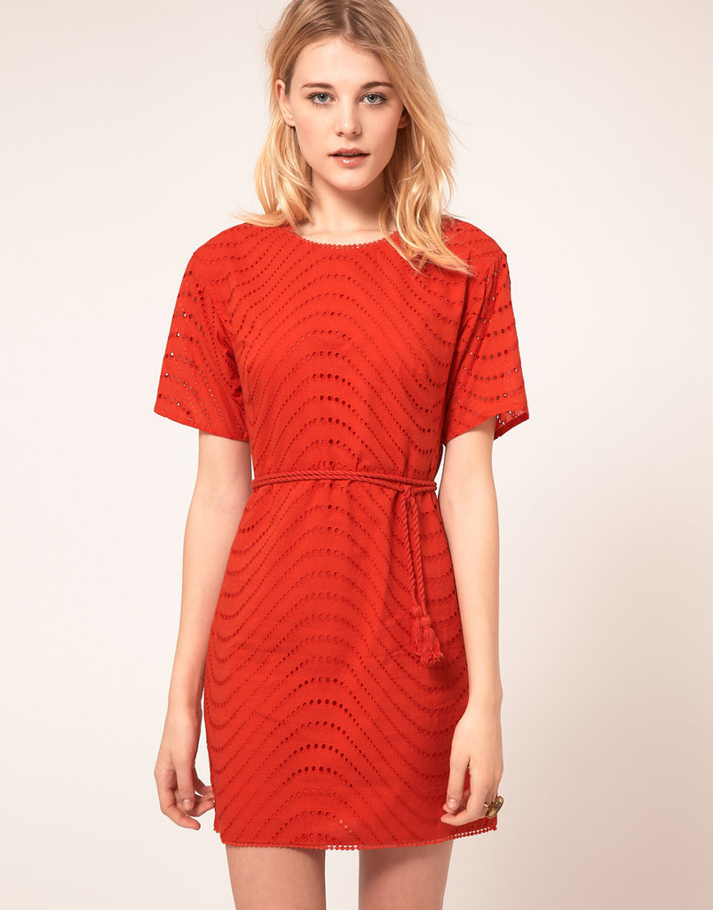 Pair this bright red dress with colorful wedges or printed espadrilles. French Connection Shift Dress With Embroidered Spot ($151)