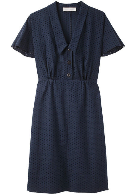 We'd jazz up this eyelet dress with a colorful collar necklace for a day at the office.  Cacharel Eyelet Shirtdress ($495)