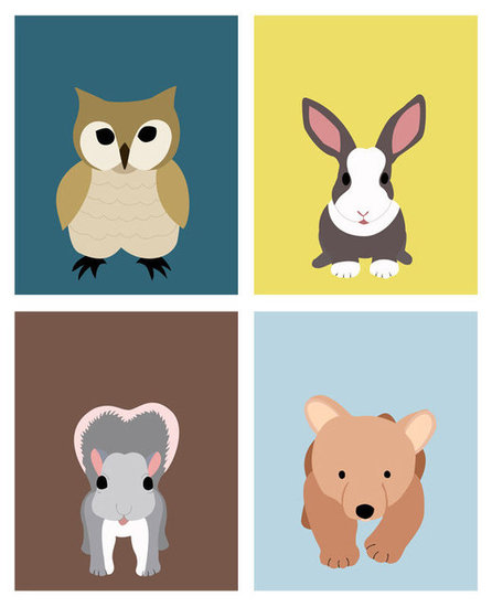 WallFry Woodland Animal Prints (4 For $32)