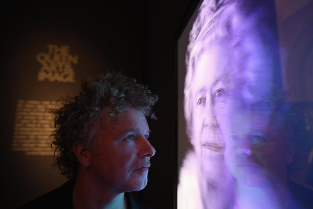 "Artist Chris Levine viewed his hologram image of Queen Elizabeth II titled ""Equanimity."""