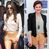 Celebrities in Tan Leather Shorts
