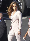 Jennifer Lopez accessorized with hoop earrings.