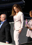 Jennifer Lopez wore a neutral shade.