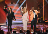 Jennifer Lopez joined Randy Jackson and Steven Tyler.