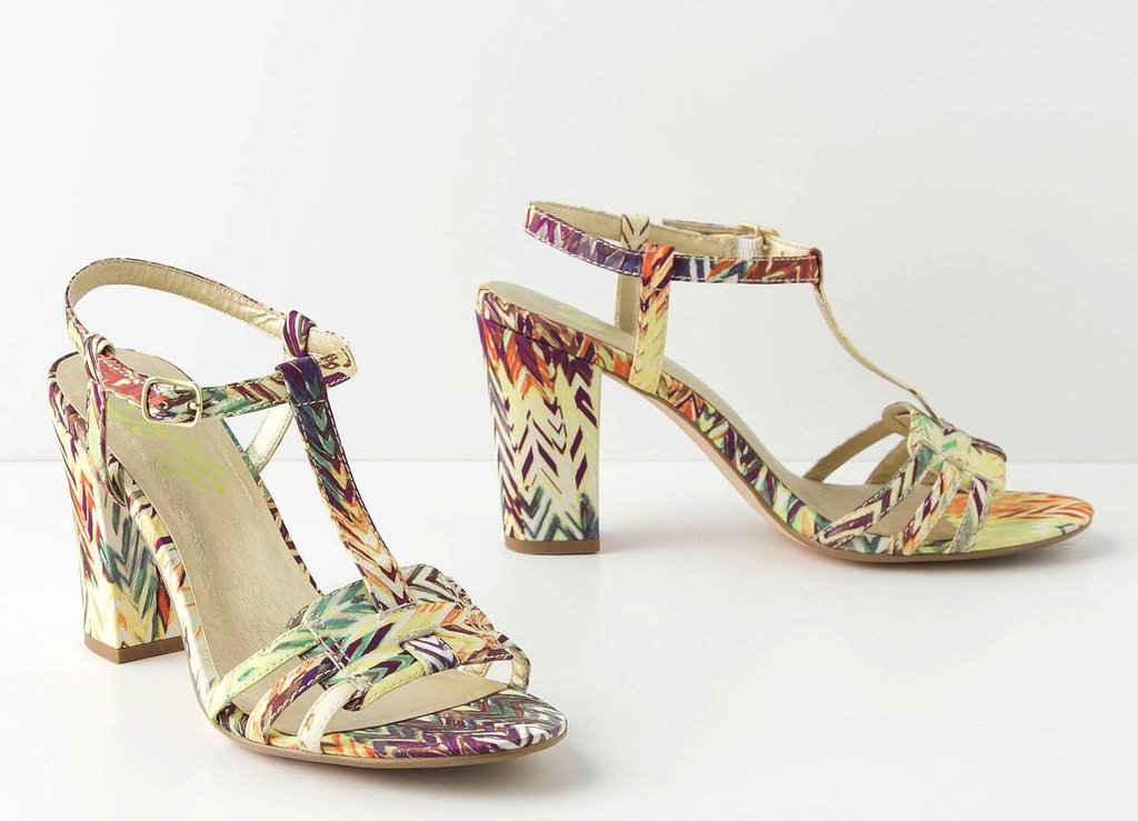 If you look closely, these T-strap sandals are printed with the shape and color of a tropical bird's feathers. It's a subtle way to show off a tropical print without going over the top.  Anthropologie Isobel T-Straps ($80)