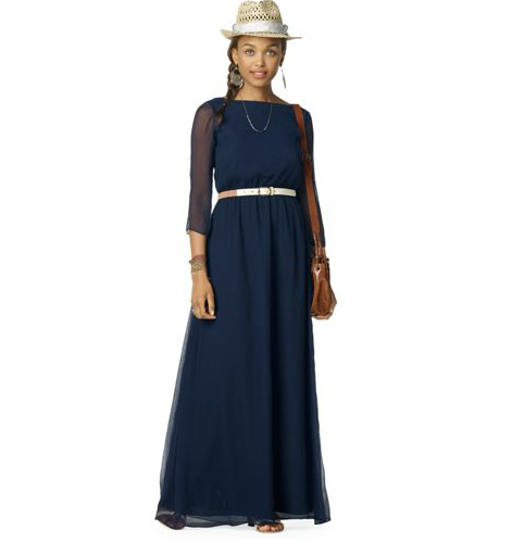 We love the more formal feel of the sheer long sleeves on this navy blue version. Club Monaco Elvie Dress ($250)