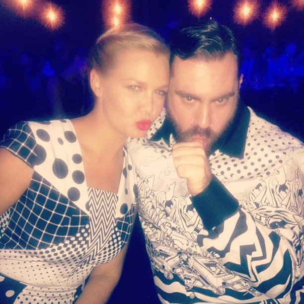 Lara Bingle made faces with her Women of Style Awards date, Romance Was Born designer Luke Sales. Source: Instagram User mslarabingle