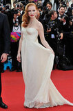 Jessica Chastain flaunted her gorgeous dress on the red carpet in Cannes.