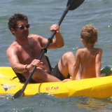 Patrick Dempsey paddled around with one of his sons.