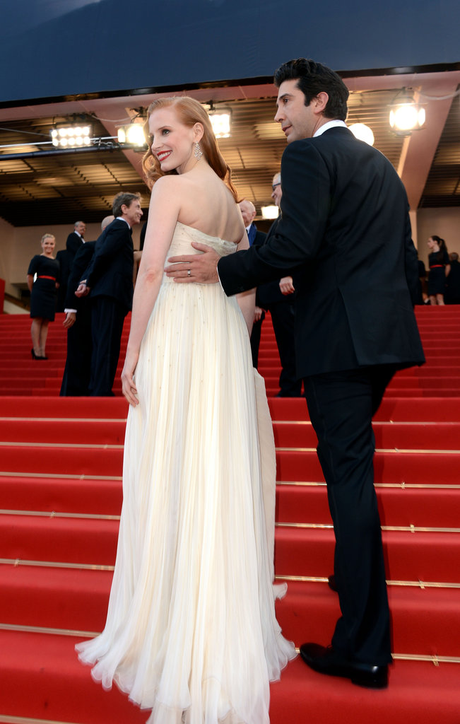 Jessica Chastain and David Schwimmer walked up the stairs at the premiere of Madagascar 3: Europe's Most Wanted.