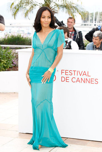 For the second Madagascar 3 photo call, Jada slipped into a slinky turquoise-and-nude Alberta Ferretti dress.
