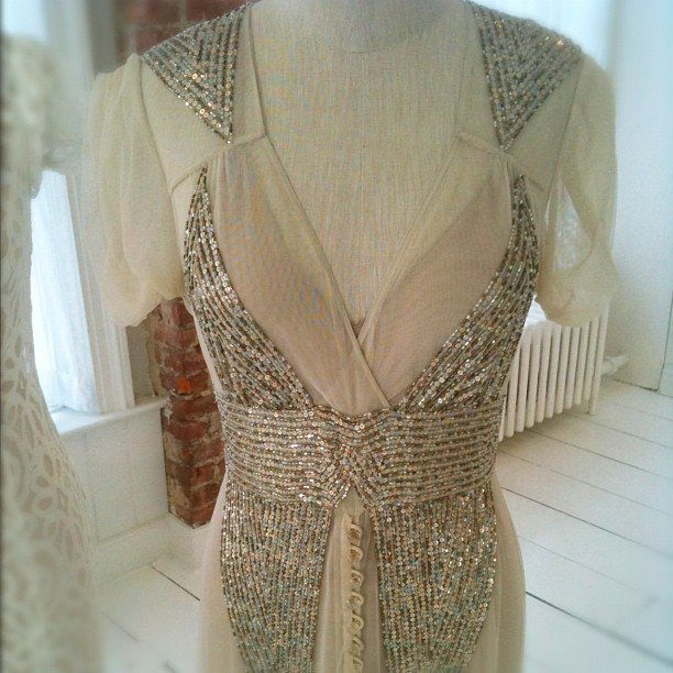 A close-up of a gorgeous Anna Sui beaded bridal gown at BHLDN.