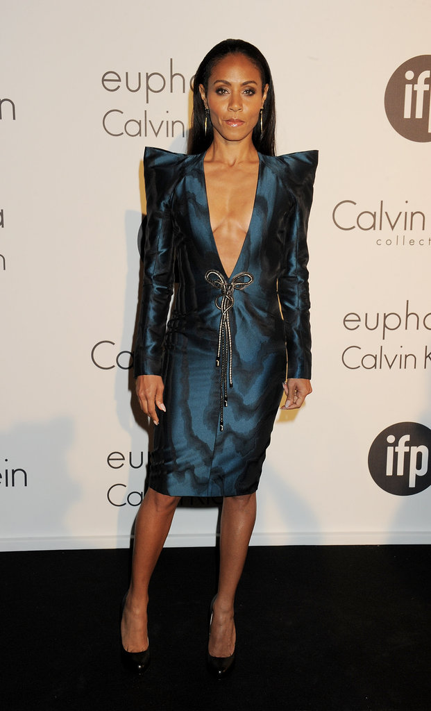 Jada Pinkett Smith chose a metallic blue-sheen Paco Rabanne number for the Calvin Klein party — its bold shoulders and plunging neckline channeled a sexy-cum-futuristic feel.