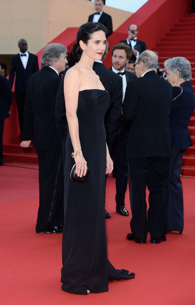Jennifer Connelly walked the Once Upon a Time in America red carpet in a minimalist chic Gucci column dress.