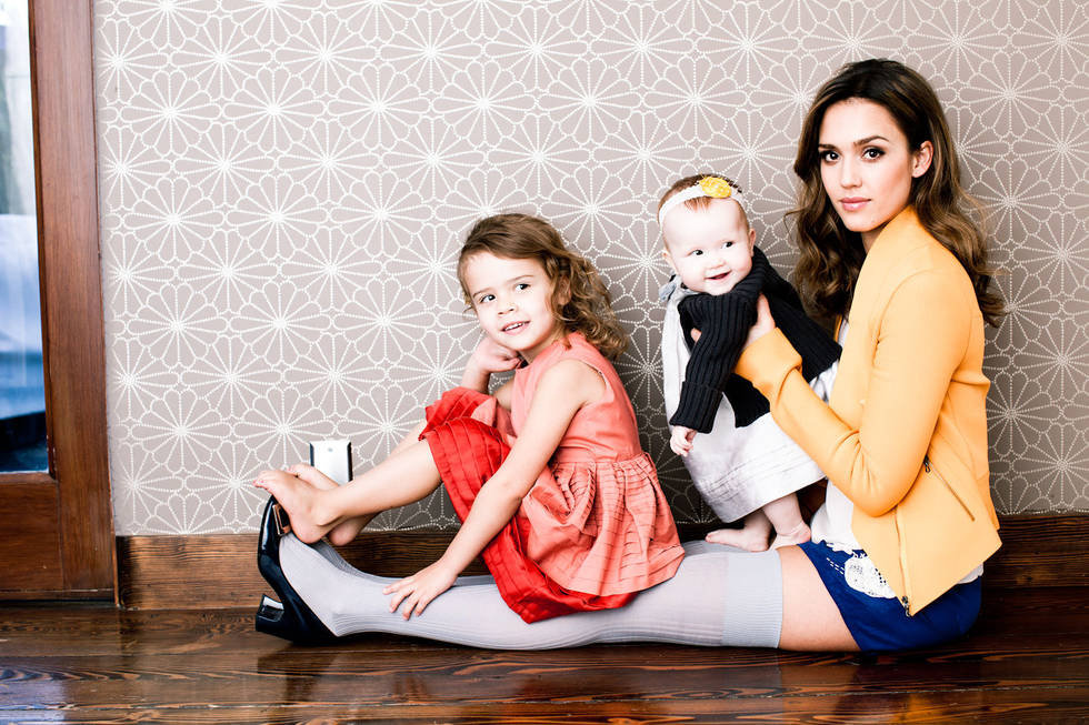 Jessica Alba posed with Honor Marie, 3½, and Haven Garner, 9 months, for Fast Company.  Photo courtesy of: Fast Company