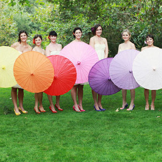 Rainbow Parasols in Wedding