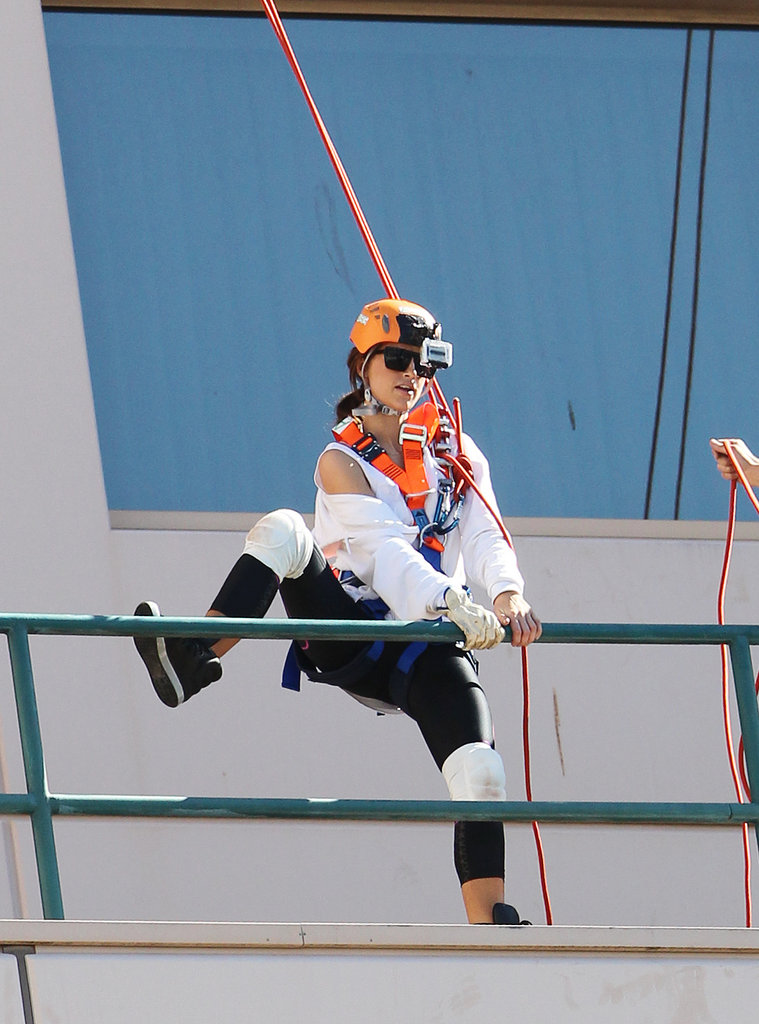 Vogue Williams prepared to abseil as part of Kyle and Jackie O's Amazing Race in Sydney on May 22.