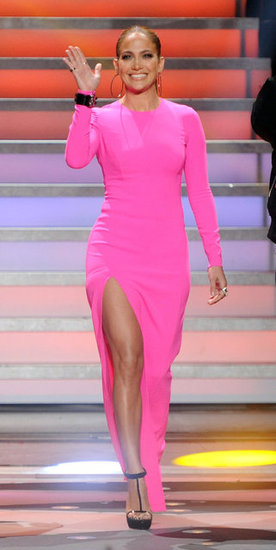 Jennifer stunned everyone when she stepped out in this hot-pink Michael Kors dress. What's not to love? Not only was the color amazing but the thigh-high slit made it even more fierce.  6929183