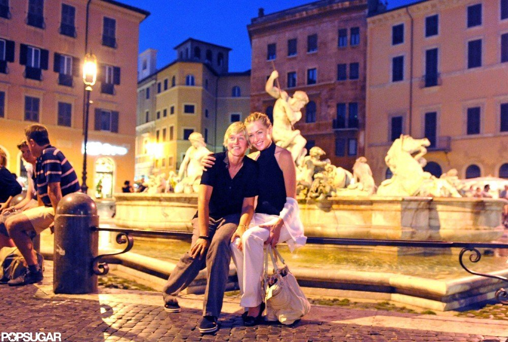 Ellen DeGeneres and Portia de Rossi had to get back to work right after their wedding, so the duo went on a prewedding Roman honeymoon in July 2008.