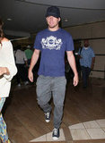Channing Tatum wore a navy shirt.