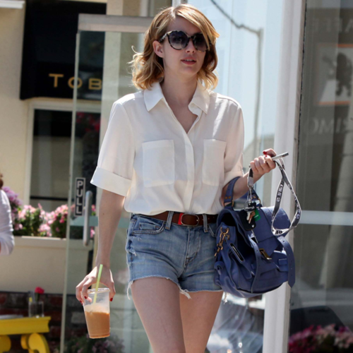 Emma Robert Nails Off-Duty Style in Button Down and Denim Cut-Offs - Snoop Her Street Style!