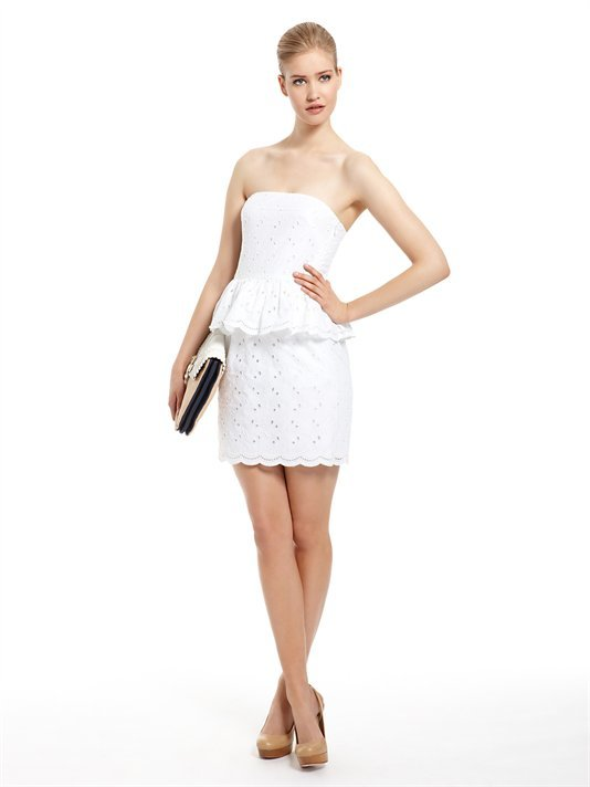 DKNY Strapless Eyelet Dress With Peplum ($375)