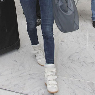 Irina Shayk in White Hightop Sneakers