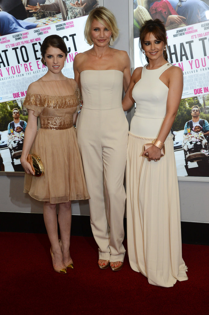 Anna Kendrick, Cameron Diaz, and Cheryl Cole posed for photos at the What to Expect When You're Expecting premiere in London.