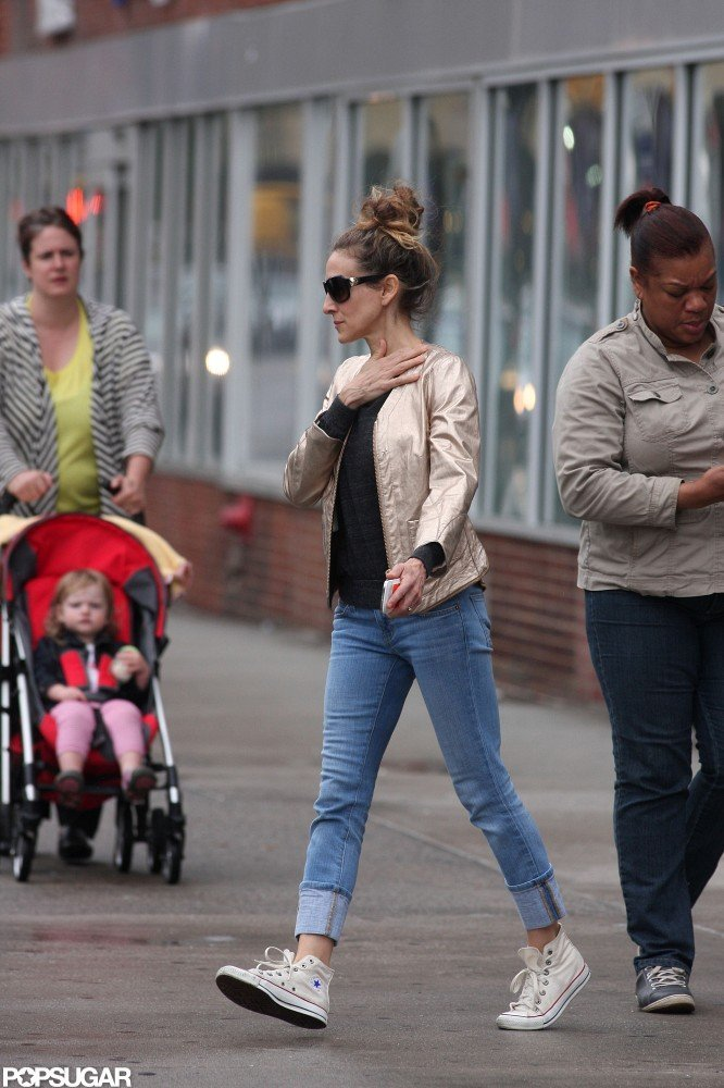 Sarah Jessica Parker wore jeans and tennis shoes as she walked in NYC.