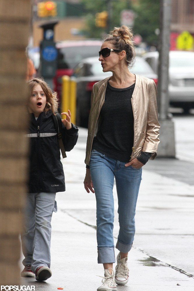Sarah Jessica Parker chatted with an animated James Wilkie Broderick on their way to his school.
