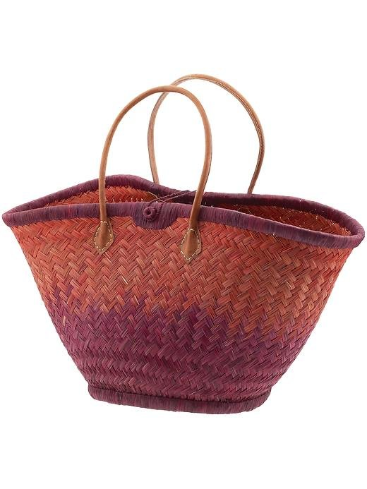 Bring the ombré trend to your accessories with this berry-and-coral-colored straw tote.  Mar Y Sol Nantucket Ombré Tote ($85)