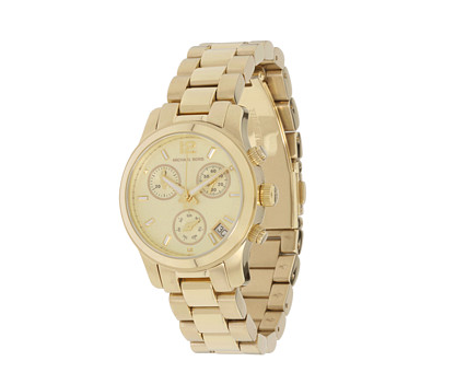 """Seen on nearly all the fashion bloggers, this watch is a great everyday piece of jewelry. I like to wear mine stacked with lots of bangles and bracelets."" — Ashley Madekwe Ashley's pick: Michael Kors MK5384 Gold Watch ($250)"