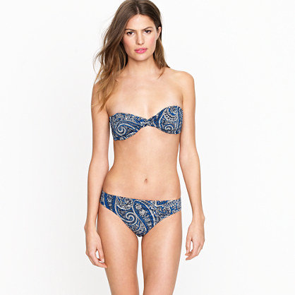 A classic blue paisley print lends a boho feel to this bandeau bikini. J.Crew Antique Paisley Twist-Front Bandeau Top ($48) and Matching Bottoms ($44)